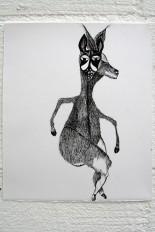 Alien, 2009. Oostindische inkt op papier, 19 x 22 cm.