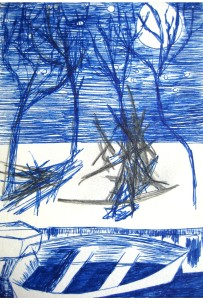 Bella Blue, 2010. Illustration. Pen, inkt, potlood op papier. 9 x 14 cm.