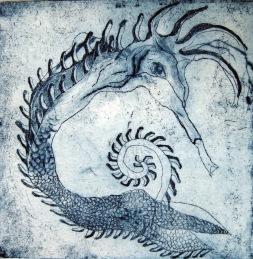 Sea Horse, 2013. Ets, droge naald op papier. 10 x 10 cm.