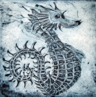 Sea Horse, 2013. Ets op papier. 10 x 10 cm.